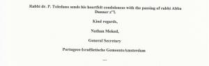 Condolences from Rabbi Dr. P. Toledano