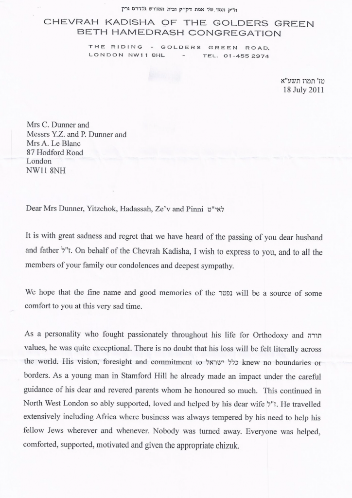 Condolences from the Chevrah Kadisha of Golders Green - Page 1